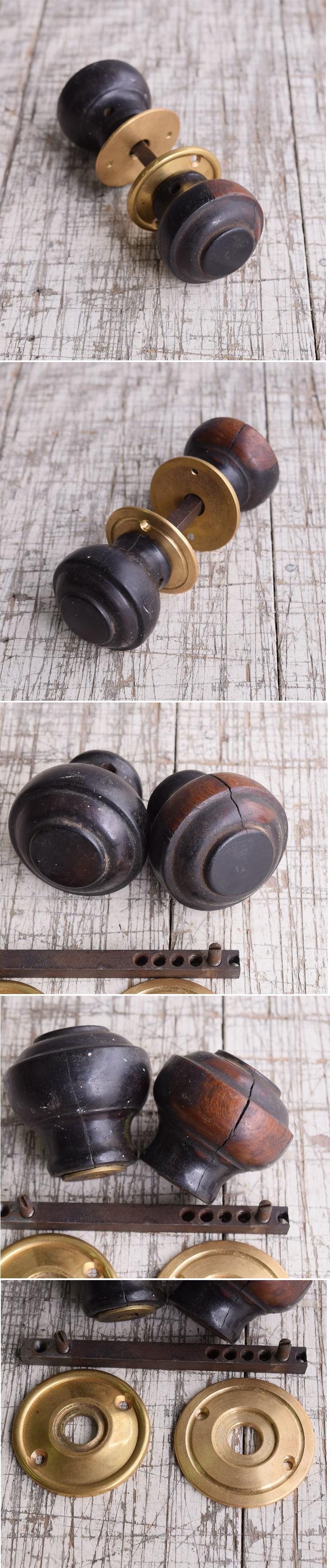 イギリス アンティーク 木製 ドアノブ 建具金物 握り玉 9929