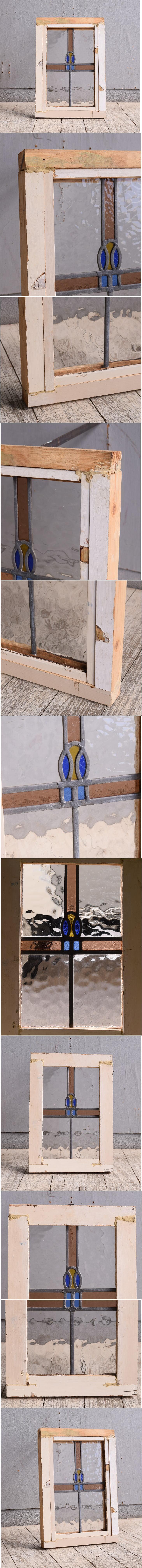 イギリス アンティーク ステンドグラス 幾何学 9971
