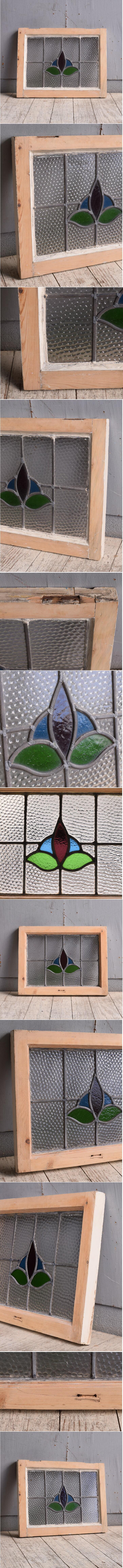 イギリス アンティーク ステンドグラス 幾何学 9985